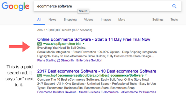 paid search ad example